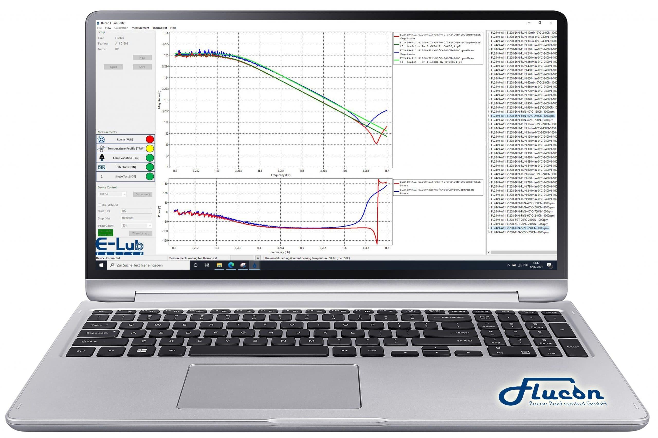 Lagerimpedanz-Messung am VKA mit dem flucon E-Lub Tester